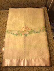 Heyman's Hollywood Line Woven Wool And Silk Satin Vintage Baby Blanket