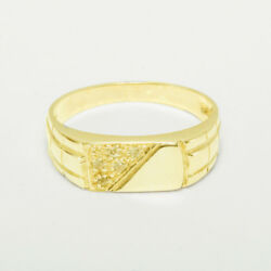 14ct Yellow Gold Natural Diamond Mens Band Ring - Sizes N To Z