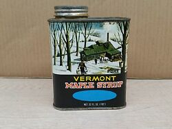 Vintage State Of Vermont Maple Syrup Advertising Tin Can