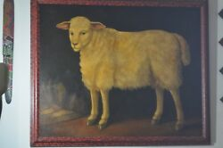 William Skilling Custom Framed Large Oil Painting of a Sheep by William Skilling