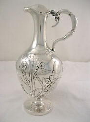 Antique Wang Hing Chinese Export Silver Floral And Bird Ewer Pitcher Circa 1890