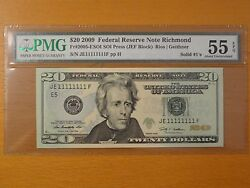 2009 20 Federal Note Frn Super Lucky Fancy Solid Serial 11111111 Pmg 55epq