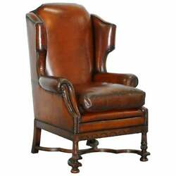 RARE WILLIAM & MARY STYLE ANTIQUE VICTORIAN WINGBACK BROWN LEATHER ARMCHAIR