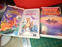 Vtg. Kids Vhs Dinosaur Videos The Land Before Time Vi- We're Back-and Wind Willows
