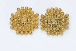 Christian Lacroix 1980's Baroque Style Gold Plated Earrings