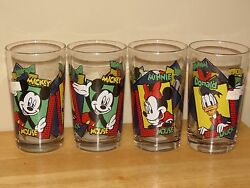 5- Anchor Hocking Disney Mickey Minnie Mouse Donald Juice Glasses Vintage