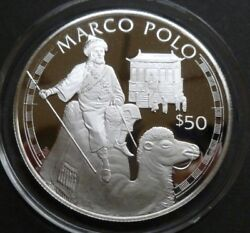 Cook Islands Sterling Silver Proof 50 Coin 1988 Explorers Series- Marco Polo