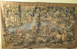 Old handmade French Aubusson style tapestry wall hanging Rendez-Vous de Chasse