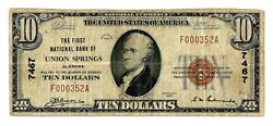 Union Springs Alabama Al 10 National Bank Note 1929 Ty 1 Ch 7467