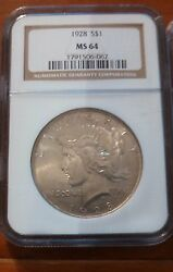 1928 Peace Silver Dollar Ngc Certified Ms 64 Key Date