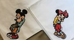 Two Disney Napkins Mickey And Minnie Mouse Donald Duck Goofy White Synthetic