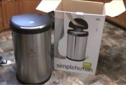 NEW Simplehuman Stainless Steel Trash Can Step-On Garbage Kitchen Home Office