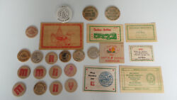 Vtg Lot 60and039s- 80and039s Wooden Money Coins Dollars And Nickels Christmas Cards More