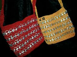 Crochet Recycled Soda Can Metal Tabs Over Shoulder Bag 1 Red 1 Yellow