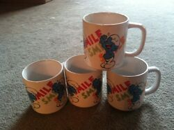 The Smurfs Wallace Berrie Peyo Smile Laughing Coffee Mug Cup Set Of 4