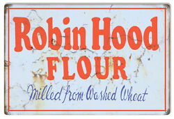Vintage Style Metal Sign Robin Hood Flour Country 12x18