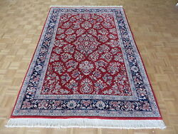 6 X 9 Hand Knotted Persian Red Sarouk Oriental Rug Ivory G101