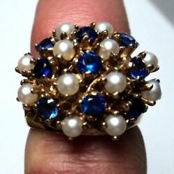 Quality Antique 10k Yellow Gold Sapphire And Pearl Cluster Ring Size 6.5