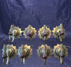 8 Matching 1920's Antique Brass Sconces Lot 4 Pairs Wired Wall Sconce  6c