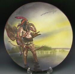 Beautiful Nippon Blown Out Indian Goose Hunter Hanging Plaque Mark 47