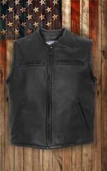 Made In The Usa Naked Leather Vest Motorcycle Biker America Concealed Carry Zip