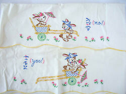 Vintage Pair Of Pillowcases Embroidered Love Bunny In Rickshaw Oriental Flowers