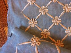 Zimmer Rohde Travers Bow Knot Embroidery Fabric Msrp 300/yd Stunning Blue/oat