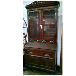 Antique Secretary Book Case Display China Cabinet Early Large Cabinet