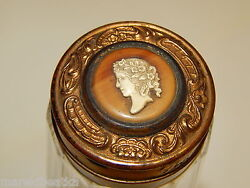 Antique Victorian Paneled Glass And Cameo On Lid Perfume Flask