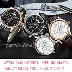 43mm Parnis Miyota 9120 Automatic Men Watch Sapphire Crystal 316l Stainless Case