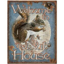 Welcome To The Nut House Tin Sign Wall Decor Metal Retro Squirrel Humor Man Cave