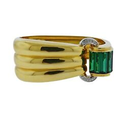 Roberto Legnazzi Green Tourmaline Diamond Gold Bracelet