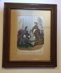 Antique Victorian 1861 Paris Dresses Print Hand Colored French Framed