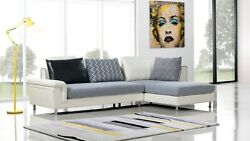2pc Modern Contemporary Ivory Gray Fabric Sectional Sofa Chaise Set