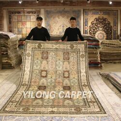 YILONG 6'x9' Traditional Hand Knotted Carpets Home Decor Handmade Silk Rugs 006B
