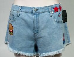 Mossimo Women Jean Cutoff Shorts With Buttons & Patches Light Blue Size 1834