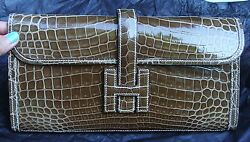 BRAND NEW HERMES POCHETTE JIGE ELAN Clutch 29 Crocodile FICESP12GORGEOUS COLOR