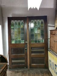 Antique Double Opening Church Doors Stained Glass