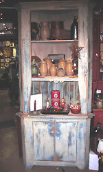 Hand Crafted Primitive Antique Looking Corner Hutch