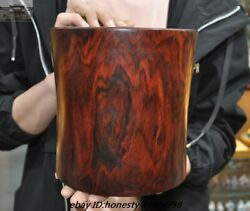 Old Chinese Unique Red Rosewood Wood Calligraphy Tool Brush Pot Pencil Vase Jar