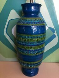 Mid Century Modern Pottery Ceramic Blue Bitossi Italy Table Lamps Urn Form Green