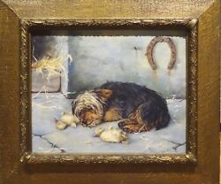 19th Century English Yorkshire Terrier Dog Sleeping Portrait Oil Painting