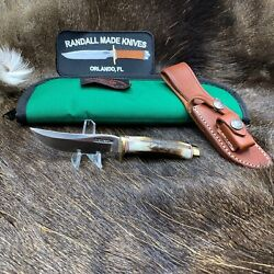 Randall Model 3 Miniature Knife With Stag Handles And Leather Sheath / Pouch Mint