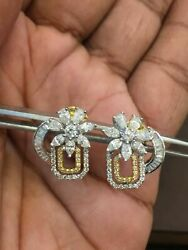 Stamped 585 14k Gold 1.51 Cts Round Marquise Pear Shape Diamonds Stud Earrings