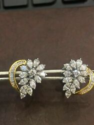 Solid 585 14karat Gold 2.08 Cts Round Marquise Pear Shape Diamonds Stud Earrings