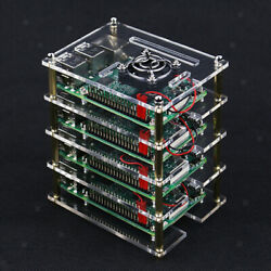 Raspberry Pi 4 Layer Stackable Dog Bone Case Enclosure With Cooling Fans