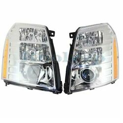 07-14 Escalade Front Headlight Headlamp Xenon Head Light Lamp W/bulb Set Pair