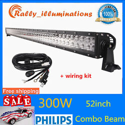 52inch 300w Philips Led Work Light Bar Flood Spot Combo Offroad Boat Suv+wiring