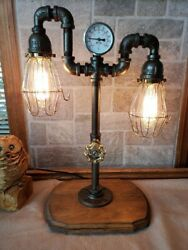 Handcrafted Industrial Pipe 2 Bulb Retro Style Abledesk Lamp On Wooden Base