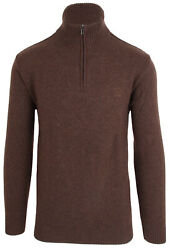 Paul And Shark Yachting Sweater Jumper Troyer Size L 100 Wool Zipper Brown